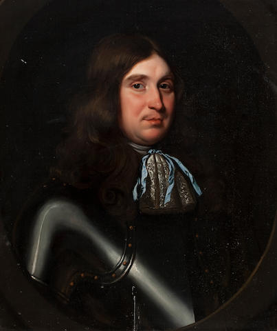 Follower of David Scougall (Scottish) Bust length portrait of a man wearing armour