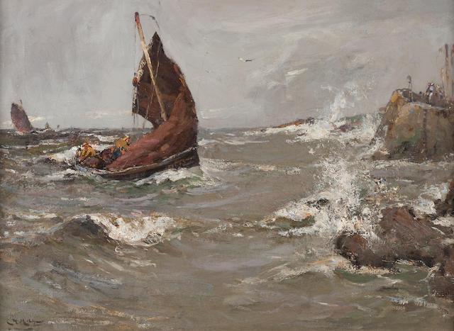 William Watt Milne (British, 1865-1949) Fishing in rough seas