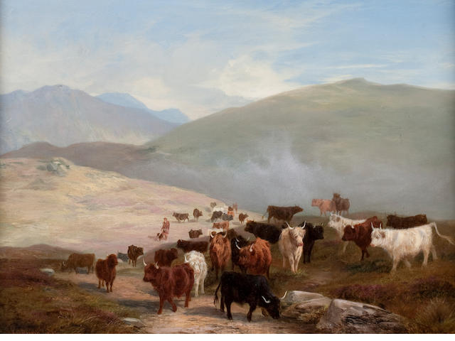 Edward R. Breach (British), (19th century) Highland cattle in a glen