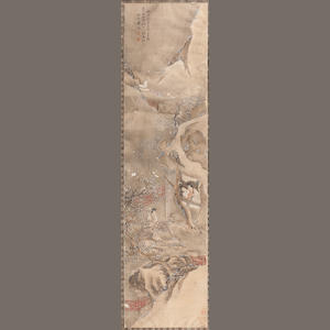 Chinese School (19th century) A painted scroll picture of figures in a winter landscape