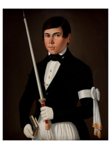 De Korff, (19th century) Portrait of a young man in his first communion dress outfit