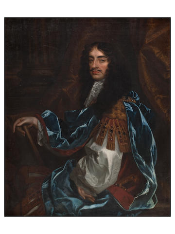 After Sir Peter Lely A three quarter length portrait of Charles II in blue robe