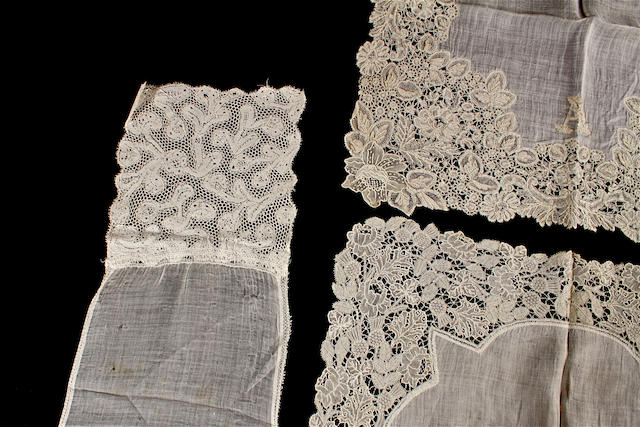 A group of twelve mostly 19th century lace edged and whitework handkerchiefs