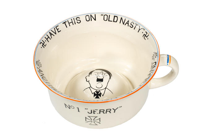 "A scarce ""No. 1 Jerry"" musical chamber pot, by Crown Devon, September 1939,"