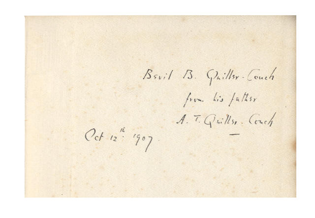 "QUILLER-COUCH (ARTHUR) Dead Man's Rock: A Romance, inscribed ""Louie - to her for whom this book was written - from Arthur, Sept. 28th 1887""; and quantity of others, inscribed, together with 2 silver ashtrays (quantity)"