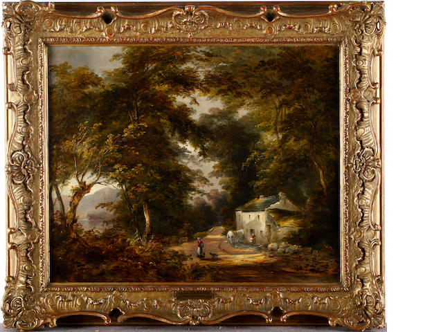 Attributed Thomas Creswick (1811-1869) Figures before a cottage in a wooded lane lake scene beyond, 36 x 44cm.
