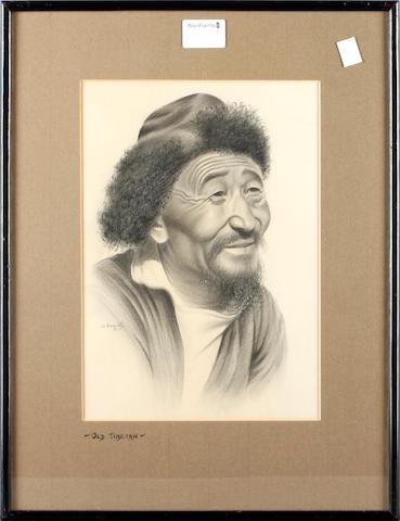 G* Douglas, 20th Century eight studies of Tibetan characters:- Tibetan Rickshawala; Tibetan Trader; Tea Estate Worker Nepal; Old Tibetan; Old Hill Woman; Tibetan Woman; Old Hillman; Old Burman; signed charcoal, 29,5cm x 20cm.
