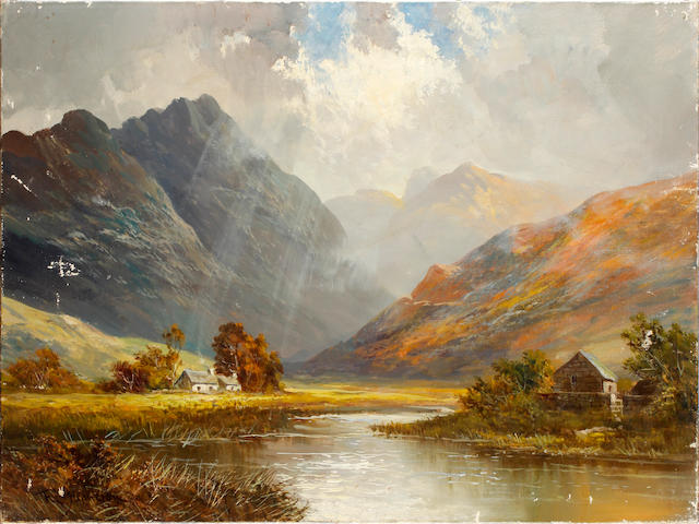 Frank E. Jamieson (British, 1834-1899)Loch Goil Argyleshire, signed, oil on canvas, 45.5 x 61cm, and another Loch Earn both unframed and two others by the same hand 'The Old Mill Brora', and 'Near Bulmoha Loch Lomord', both 35.5cm x 55cm,unframed. (4)