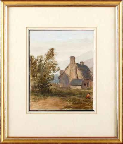English School, 19th Century Eywell-on-Tyne, Nr Hexham, Northumberland, watercolour, 26 x 41.5cm, and after David Cox - A village house with a figure in the foreground, bears a signature, watercolour, 18 x 14.5cm. (2)