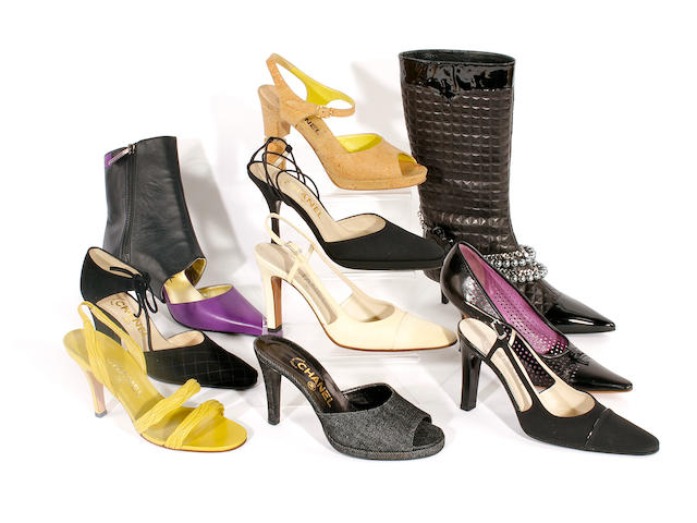 Ten pairs of Chanel shoes, sandals and boots