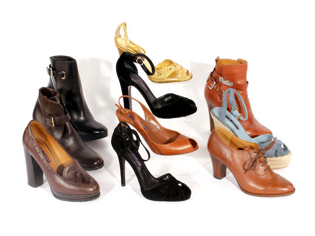 Ten pairs of Ralph Lauren shoes, sandals and boots