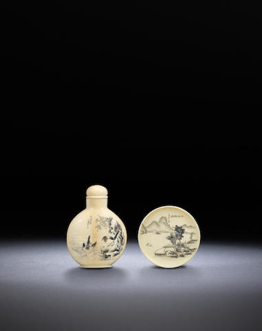 An ivory landscape bottle and snuff dish Yu Shuo, Tianjin, the bottle dated 1904