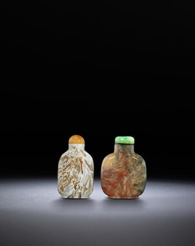 Two moss and macaroni agate snuff bottles QIng dynasty, 1770-1880