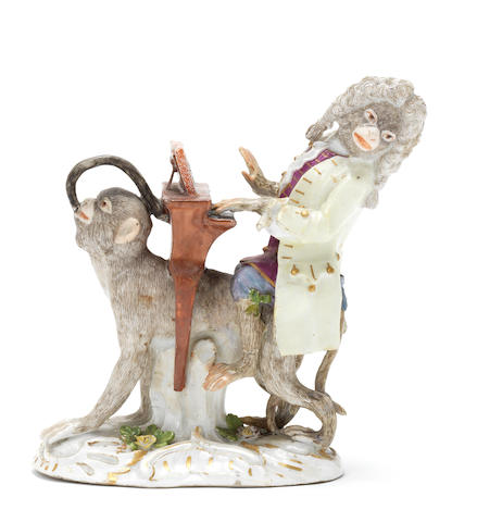 A Meissen monkeyband figure of an organist third quarter of the 18th century (hands and legs of playing monkey, tail and legs of crouching monkey and the legs og the instrument and piping restored) (valuation Ref 305646/12)
