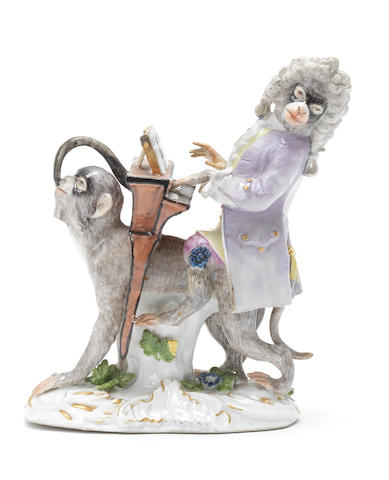 A Meissen monkey band figure of the organ player, third quarter 18th century