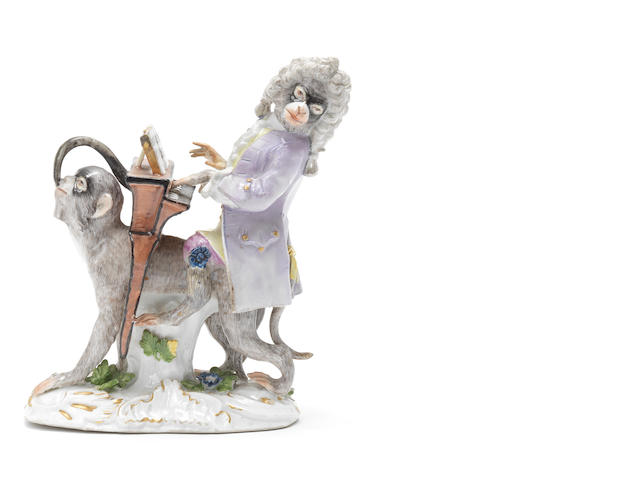 A Meissen monkeyband figure of the organ player third quarter of the 18th century (damage to tail, left hand, legs of instrument and right foot of the player) (Valuation Ref 305646/9)