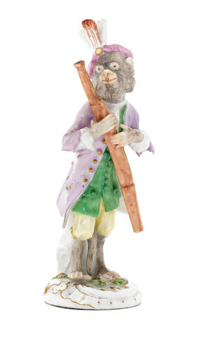 A Meissen monkeyband figure of a bassoonist third quarter 18th century (top of instrument restored, otherwise overall in good condition) (Valuation Ref 305646/15)