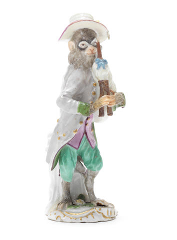 A Meissen monkeyband figure of a bagpipe player third quarter 18th century (restoration to both hands, pipes and toes due to the front of the base which was broken off and restored) (Valuation Ref 305646/16)