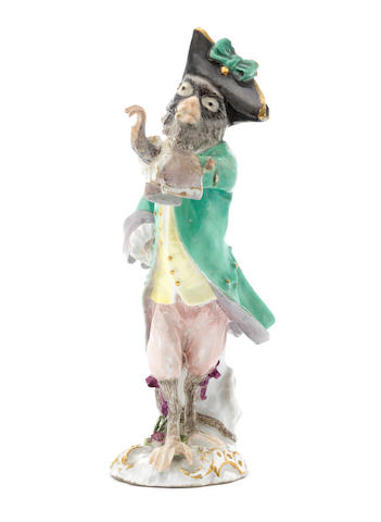 A Meissen monkeyband figure of a horn player third quarter of the 18th century (instrument replaced, toe, corner of a jacket and his hat restored) (Valuation Ref 305646/18)