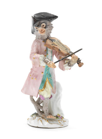 A Meissen figure of a violinist in a purple jacket third quarter of the 18th century (neck of instrument, bow and left hand restored)  (Valuation Ref 305646/3)