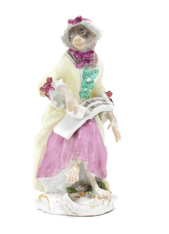 A Meissen monkeyband figure of a seated female singer third quarter of the 18th century (left foot with minor restoration, very minor restoration to some fingers and the bows of two ribbons) (Valuation Ref 305646/6)