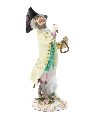 A Meissen monkeyband figure of a triangle player third quarter of the 18th century (instrument and stick restored, both hand restored, colours on har retouched) (Valuation Ref 305646/7)
