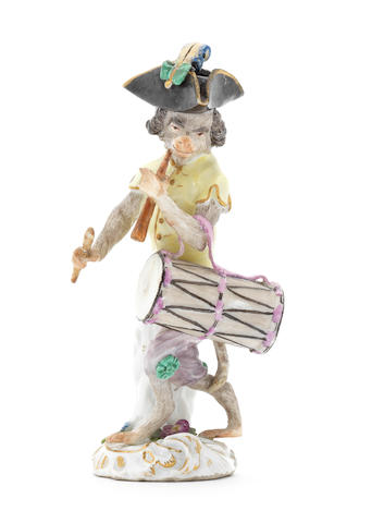 A Meissen monkeyband figure of a drummer third quarter of the 18th century (overall in very good condition, the stick and flute restored, some minor restoration to his hat) (Valuation Ref 305646/8)