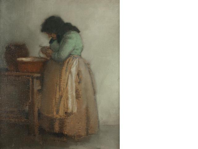Edmund Blampied (British, 1886-1966) Aunt Elizabeth 78.1 x 64.1 cm. (30 3/4 x 25 1/4 in.)