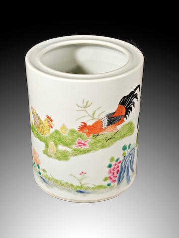 A famille rose cylindrical brushpot