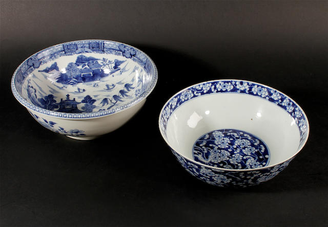 Two Chinese blue and white bowls