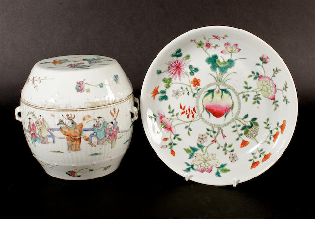 A famille rose, barrel-shaped vase and cover and a famille rose peach dish