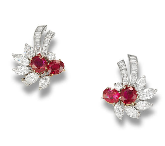 A pair of ruby and diamond ear clips, by Cartier