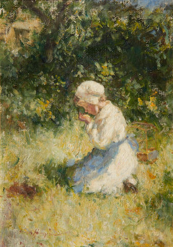 Robert Gemmell Hutchison, RSA RBA ROI RSW (British, 1855-1936) Girl holding a canary