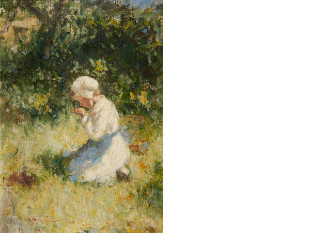 Robert Gemmell Hutchison, RSA RBA ROI RSW (British, 1855-1936) Girl holding a canary