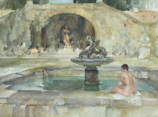 Sir William Russell Flint R.A., P.R.W.S. (British, 1880-1969) Stephanie's Pool 48.2 x 66 cm. (19 x 26 in.)