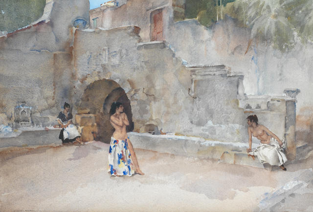 Sir William Russell Flint R.A., P.R.W.S. (British, 1880-1969) Models in the Courtyard of an Italian Art School 37.3 x 54.5 cm. (14 3/4 x 21 1/2 in.)