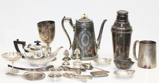 A quantity of miscellaneous silver and plated items
