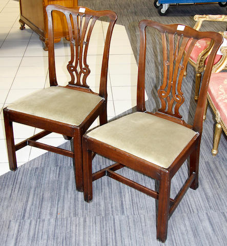 A set of six Chippendale style mahogany dining chairs