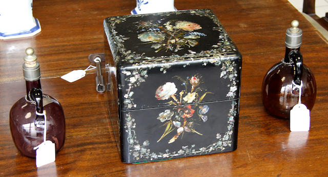 A Victorian black lacquered and mother of pearl decanter box