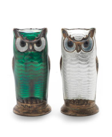 DAVID ANDERSEN: Two Norwegian silver and enamel novelty owl salt and pepper shakers each marked to base 'D.A Norway Sterling 925S', circa 1950  (2)