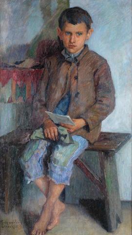 Nikolai Petrovich Bogdanov-Bel'sky (Russian, 1868-1945) The little messenger