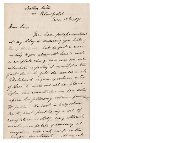 "ELIOT (GEORGE) Unpublished autograph letter signed by George Henry Lewes (""G.H. Lewes""), about the publication, of ""Mrs Lewes's novel"" (i.e. Middlemarch), 1871"