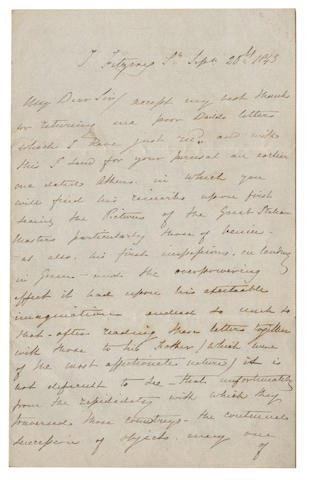 DADDS (RICHARD) Autograph letter signed by David Roberts ('David Roberts'), about Richard Dadd and his incipient madness, 1843