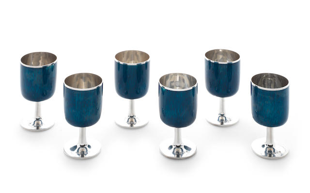 GERALD BENNEY: A set of six silver and enamelled goblets London 1974,   (6)