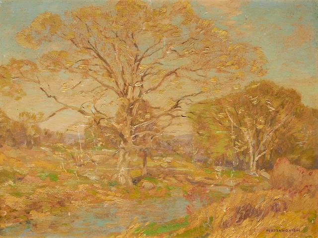 Lawrence Mazzanovich (American, 1872-1959) A landscape in spring