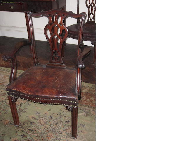 A set of seven mahogany dining chairs
