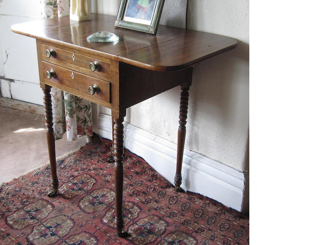 19th century mahogany drop leaf work table