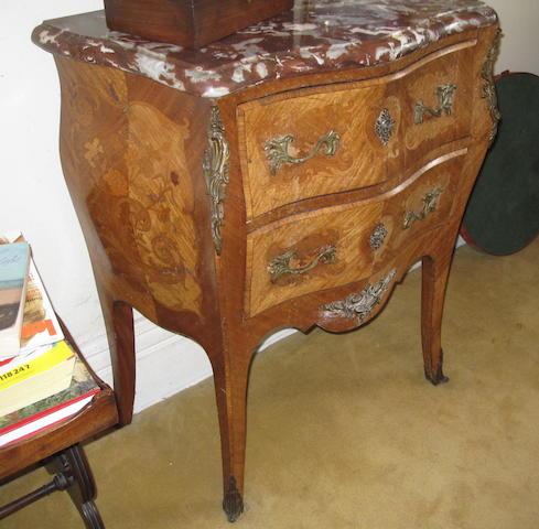 A French reproduction marquetry bombé two drawer commode