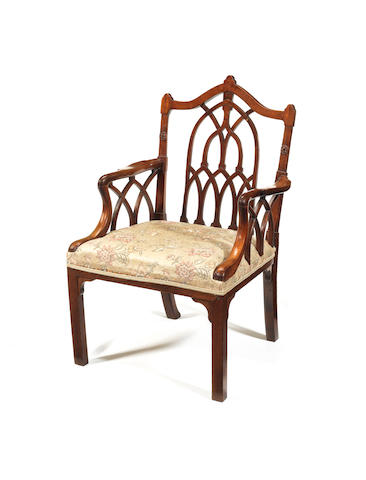 A George III mahogany open armchair in the Gothic taste