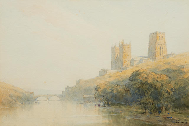 Gerald Ackermann RI (1876-1960) View of Durham Cathedral